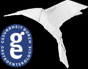 Origami-Kolibri mit Logo der Gesundheit durch Gastroenterologie